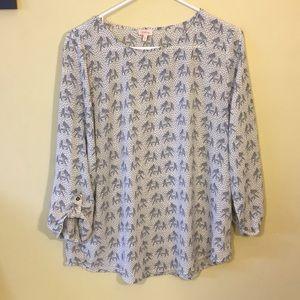 EUC elephant chiffon shirt